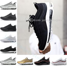 Wholesale Drop Shipping Bullet - 2018 Wholesale Drop Shipping 97 OG QS Metallic Gold Silver Bullet Triple Black ALL White 3M PRM White Mens Womens Running Shoes size 36-45