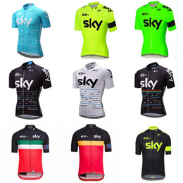 Wholesale Tour France Cycling Tops - Pro Team sky cycling clothing 2018 Men cycling jerseys bicycle shirt Tour De France road bike tops breathable mtb sportswear C2403