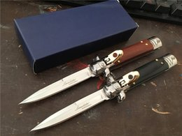 "Wholesale Ebony Wood Knife - AKC! Italy AKC Bill DeShivs 7.5"" Leverletto Ebony Rose Wood Automatic Best Knife,440C Blade Survival Gear Knife knives"