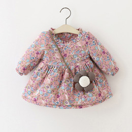 Wholesale Little Korean Girl Clothes - Little Girls Flower Print Dresses Winter 2017 Kids Boutique Clothing Korean 1-4T Cute Baby Girls Cotton Floral Dresses Plus Fleece