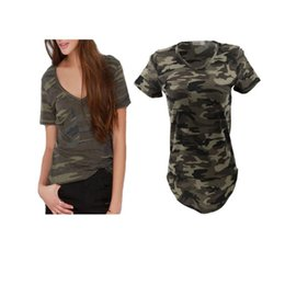 Wholesale military shirts women - Military T shirt Women Top Summer Top Short Sleeve Casual Tee For Women Fashion Street Green V neck Brife T Shirts JC036