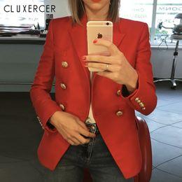 Blazers de senhoras vermelhas on-line-Blazers senhoras 2018 Nova Moda Vermelho mulheres blazers e jaquetas de Manga Longa trespassado senhora do escritório Blazer Terno Feminino