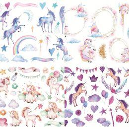 Carnets animaux en Ligne-Unicorn Stickers Album Décorez Dessins À La Main Animal Diary Autohesion Pas De Colle Sèche Sticker Livret Livraison Gratuite 0 85hc V