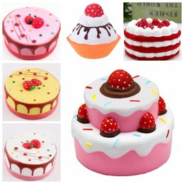 Wholesale rose children - PU 6 styles Squishy cakes Slow Rising Soft Squeeze Cute Cell Phone Strap gift Stress children Decompression Toy Novelty Items GGA239 30pcs