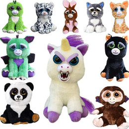 Wholesale Naughty Baby - Feisty Pets One Second Change Face Animals 20CM 8 Inch Plush Toys Cartoon Stuffed Animals Baby Christmas Gift Naughty Little Pet Doll
