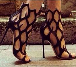 Plataforma aberta de salto alto on-line-Sexy 11 Cm de Salto Alto Oco Out Ankle Boots Para As Mulheres Sapatos de Plataforma Dedos Abertos Botas de Verão Senhoras Tamanho 42