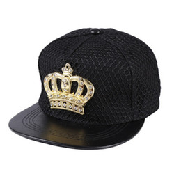 Wholesale Crown Acrylic - LDSLYJR 2018 acrylic Metal Crown Baseball Cap Adjustable Hip-hop cap Snapback Cap hats for Men and Women 01