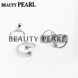 Wholesale 925 circle earrings - Pearl Mountings Circle 925 Sterling Silver Zircon Square Prong Setting Ring with Earring with Pendant Findings