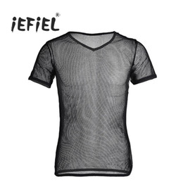 Wholesale Spandex Hot Sexy Men - iEFiEL Hot Mens Mesh See Through Clubwear Tank Vest Shirt Spandex Gay Men Shirt Underwear Summer Vest Sexy See Through Shapers