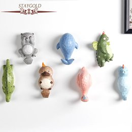 Wholesale Sculpture Home Decoration - Staygold Kawaii Decorative Hook Wall Hanging Home Decoration Accessories Animals Wall Sculpture Garden Decoration Resin Crafts