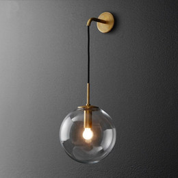 2019 luces de la noche del pasillo moderno Nordic Moderno Lámpara de pared LED Bola de cristal Lámpara de pared retro americana Aplique Wandlamp Aplique Murale