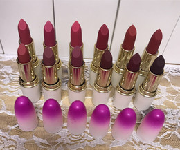 Wholesale Wholesale Brand Name Lipsticks - New Hot Makeup Matte Lipstick 3g 12 colors English name Pink Cute Cosmetics Brand DHL shipping+Gift