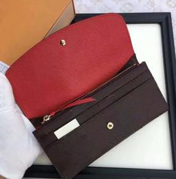 Bolsa de teléfono marrón online-Nueva alta calidad de las mujeres estilo largo carteras moda femenina casual monedero cero popular bolso del teléfono rosa rojo / púrpura / marrón / rojo / verde con caja