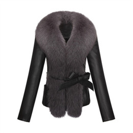 Wholesale Fur Coat Leather Belt - Wholesale- KERUISHU sheep PU leather fox fur collar slim long-sleeved short jacket jacket fur collar plush leather fur coat 3XL