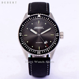 Wholesale Miyota Watches - Debert 43mm Gray Dial Ceramic Bezel Black Strap Miyota 821a Automatic Sapphire Watch