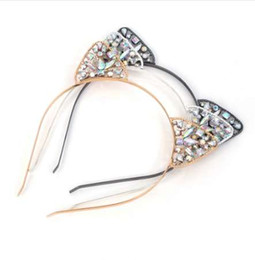 Tiara di orecchio del gatto online-Fashion Girls Cat Ears Crown Tiara Cerchietto per capelli Strass Princess Hollow Hairband Cat's ears Bezel Accessori per capelli