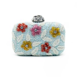 Wholesale colored clutches - Fresh design Women Colored beaded flowers Clutch Bag Lady blue Embroidered Day Clutches Party Bridal Handbag chain messenger bag