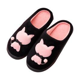 zapatillas de casa de felpa Rebajas Inicio zapatillas de interior hombres mujeres pareja cálido dormitorio zapatos de invierno lindo gato de dibujos animados felpa peludas damas casa diapositivas chanclas