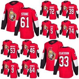Wholesale Factory Stone - 2018 Mens Ottawa Senators 9 Bobby Ryan Thomas Chabot Mark Stone Claesson 39 Andreas Englund Red Home Factory Outlet Hockey Jerseys Stitche