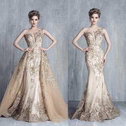 Wholesale Dress Party Evening Elegant Crystal - Elegant Champagne Mermaid Arabic Evening Dresses 2018 Sheer Neck Appliques Sweep Train Overskirt Tony Chaaya Prom Party Gowns Customized