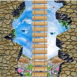 Canada Passerelle Hall ciel pont en bois galets de lotus 3D plancher extérieur adhésif revêtements muraux cheap adhesive wall coverings Offre