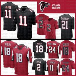 2019 цвета Лучшее качество Atlanta Falcons Jersey 18 Ridley Color # 11 Джулио Джонс # 2 Мэтт Райан 21 Deion Sanders 24 Девонта Фриман Футбольные майки дешево цвета