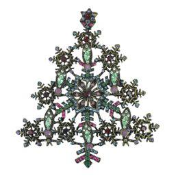 Wholesale Christmas Tree Unique - Santa Claus Gift Unique Design Antique Bronze Plating Metal Snowflake Christmas Tree Brooch Pins