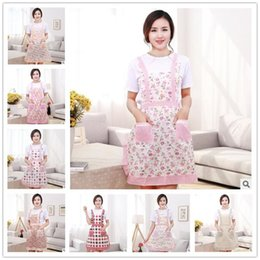 Wholesale Chef Waist Aprons - Women Aprons with Pocket Cooking Ruffle Chef Floral Kitchen Restaurant Princess Apron Polyester Kindergarten Clothes Bib with Pockets 300Pcs