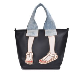 Wholesale embroidered fashion handbags tote bags - New large capacity fashion tote bag nylon embroidered shoulder Messenger bag handbag wild