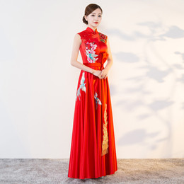 chinese women dress sexy Promo Codes - 2018 Modern Cheongsam Sexy Qipao Women Long Traditional Chinese Dresses Oriental Wedding Gowns Evening Dress Robe Orientale