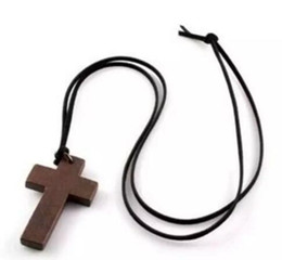 Wholesale Birthday Sweater - Wood Necklace Cross Korean Style Vintage Jewelry Pendant Simple Wooden Cross And Leather Rope Charm Fashion Women Necklace Sweater Chain DHL