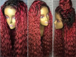 Wholesale Curly Red Full Lace Wig - Curly Omber red Full Lace Human Hair Wigs #1B#99J Brazilian Non-Remy Ombre Kinky Curly Lace Front Human Hair With Baby Hair