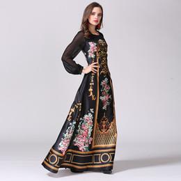 0c45c487ad4d 2016 Designer Maxi Dress Women s High Quality Charming Vintage Printed  Perspective Sleeve Patchwork Elegant Long Ukraine Dress