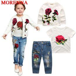 Wholesale 4t Girls Jackets - MORENNA 2018 Hot Girls Clothing Suit Jacket + T Shirt + Jeans 3 Pieces Fashion Rose Long Sleeve Coat Shirt Denim Children's Clothing Set