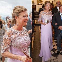 Мать невесты одета атласа шифон онлайн-Шифон мать невесты платье жених сирень кружева аппликация складки старинные плюс размер формальный длина пола эластичный Атлас Пром вечернее платье