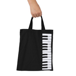Wholesale Vegetable Prints - New Simple Cotton Music Style Causal Piano keys Printed students handbags Totes Book Bag Women Shopping Bags