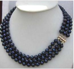 2019 colliers à trois rangs de perles noires triple collier de perles noires tahitiennes 7-8mm 18-20 pouces 14K colliers à trois rangs de perles noires pas cher