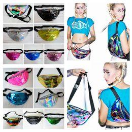 Wholesale Metallic Tables - 32*16cm Metallic Fanny Waist Bag 14 Colors Waist Pack Unisex Silver Chest Pack Sparkle Festival Hologram Bag Waist Bag AAA186