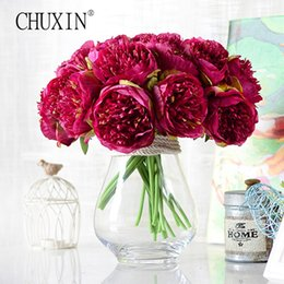 Wholesale Hand Bouquet Rose Pink - 5 heads hand artificial rose silk flowers upscale wedding bouquet fake flowers decoration for home hotel party decor