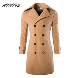 Wholesale men winter camel coat - AOWOFS Mens Overcoat Long Trench Coats Winter Male Pea Coat Double Breasted Wool Coats Black Grey Camel Trenchcoat Jacket Slim