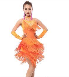Ropa de danza profesional online-WholesaleAdulto sexo traje de baile latino nuevo baile latino con flecos falda conjunto competencia profesional ropa mujeres mujeres usan ropa de la etapa
