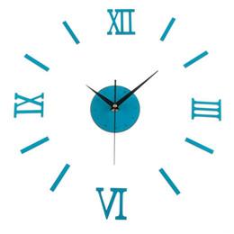 Wholesale Top Wall Art - Wholesale- Top Quality Classic Roman Style 3D DIY Clock Numeral Wall Clock Home Decoration Art Timepiece Blue Color 29 x 19 x 6cm