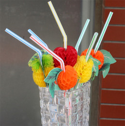 Wholesale holidays cocktails - Plastic Straw Cocktail Fruits Modelling Stripe Drinks Picks Wedding Party Supplies Holidays KTV Bar Drinking Juice Decorations 0 1rs YY