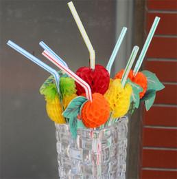 Forniture di decorazione di frutta online-Paglia plastica Cocktail Frutta Modelling Stripe Bevande Picks Forniture per feste di nozze Vacanze KTV Bar Bevande Succo Decorazioni 0 1rs YY