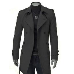 cardigan con cintura nera Sconti Inverno Uomo Giacche Nero Grigio Faux Wool Trench Cardigan Abiti da lavoro Slim Fit doppio petto con cintura cappotto lungo giacca a vento