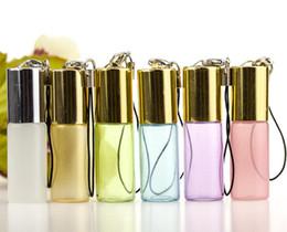botellas plásticas al por mayor Rebajas 5Ml Colgante Perla Lustre Color Rollon Botella de Bola de Rodillo de Metal Aceite Esencial Perfumes de Vidrio Vacíos Botellas de Rodillo de Cristal de Llave Maestra
