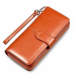 Wholesale Mobile Phone Chocolate - Hot Korean American Oil Wax wallet zipper note clip women card package mobile phone women clutch