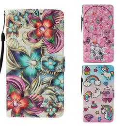 Poche de couverture iphone en Ligne-Étuis en PU 3D pour iPhone XR XS Max 7 6 Plus Windbell Flower imprimé Flip Cover pour Samsung Galaxy Note9 carte poche