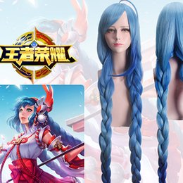 Parrucca blu treccia online-Anime Game King of Glory Blue MAGE Double Braid Long Cosplay Parrucca sintetica resistente al calore