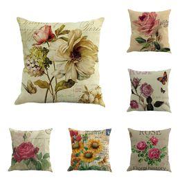 Wholesale pillow roses - Classical rose floral printed pillow case soft linen pillow cover waist cushion pillow throw home hotel decor boutique pillows szie 45*45cm